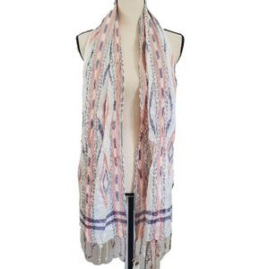 2/$20 NWT! En Creme Ivory and Coral Striped Scarf
